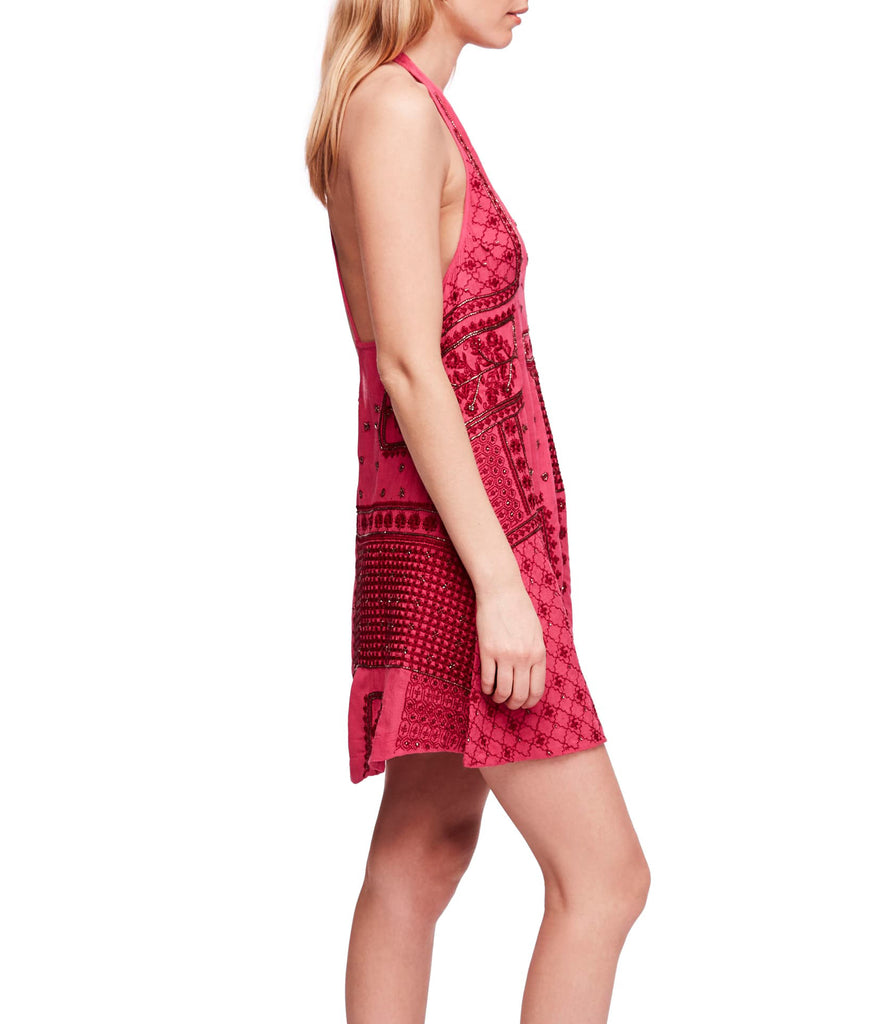 Yieldings Discount Clothing Store's Country Nights Swing Embellished Dress by Free People in Raspberry