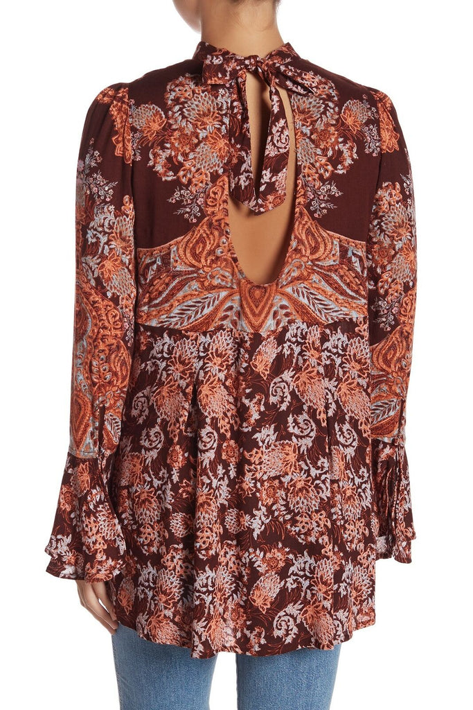 Yieldings Discount Clothing Store's Lady Luck Printed Tunic Dress by Free People in Burgundy