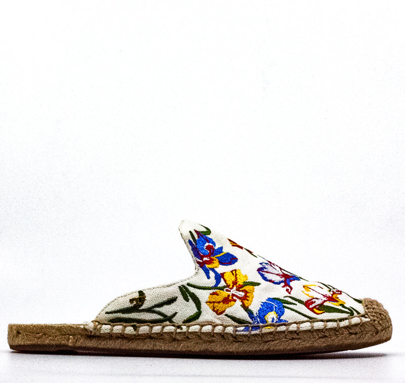 Yieldings Discount Shoes Store's Max Embroidered Espadrille Slide Mules by Tory Burch in New Ivory