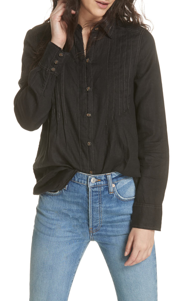 Yieldings Discount Clothing Store's Pleated Button Down Blouse by Free People in Black