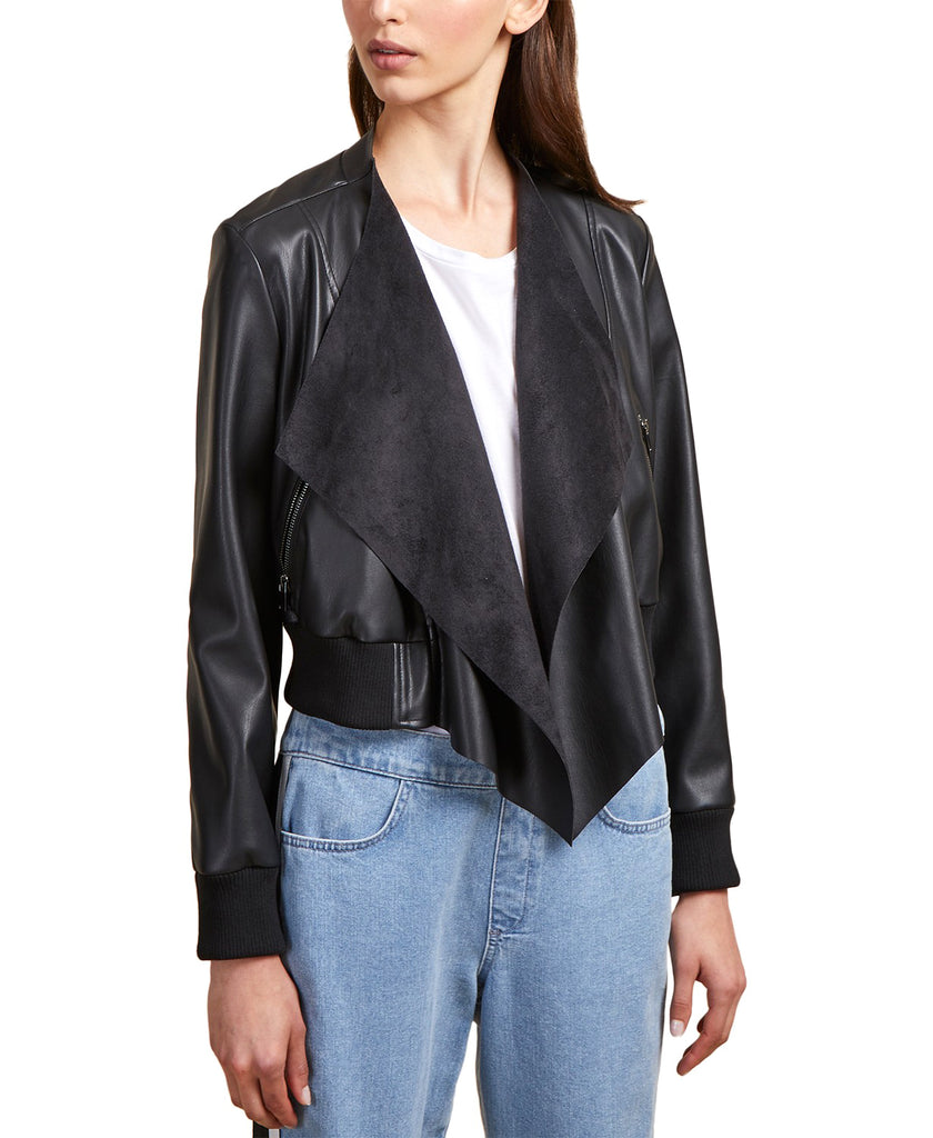Yieldings Discount Clothing Store's Mixed Media Bomber Jacket by French Connection in Black