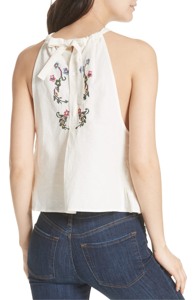 Yieldings Discount Clothing Store's Honey Pie Embroidered Tank Top by Free People in Ivory