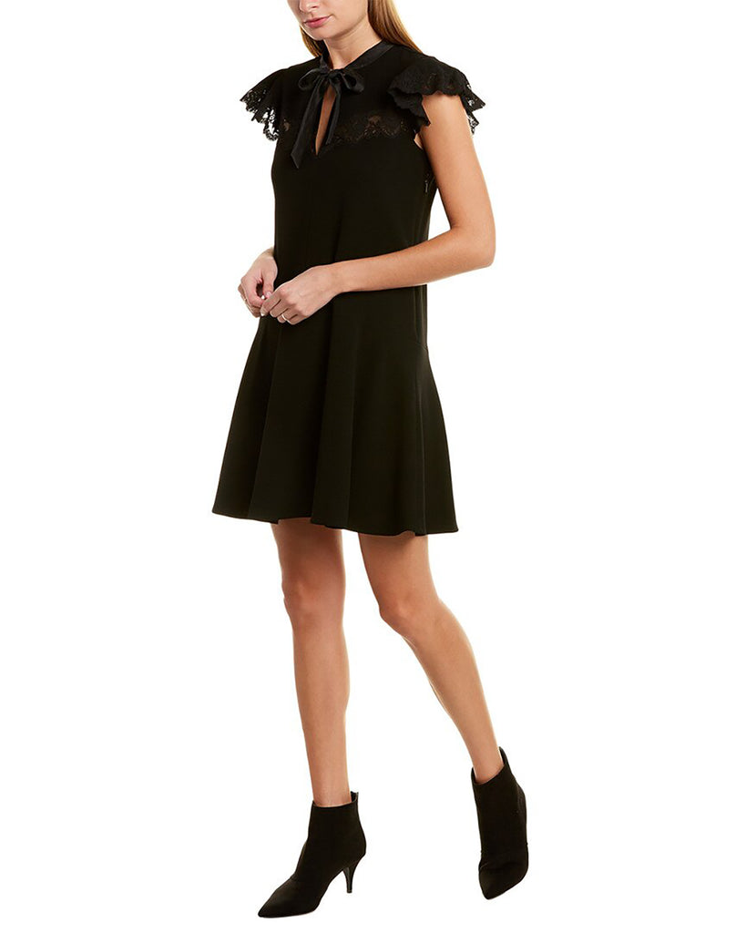 Yieldings Discount Clothing Store's Crepe Lace Shift Dress by Rebecca Taylor in Black