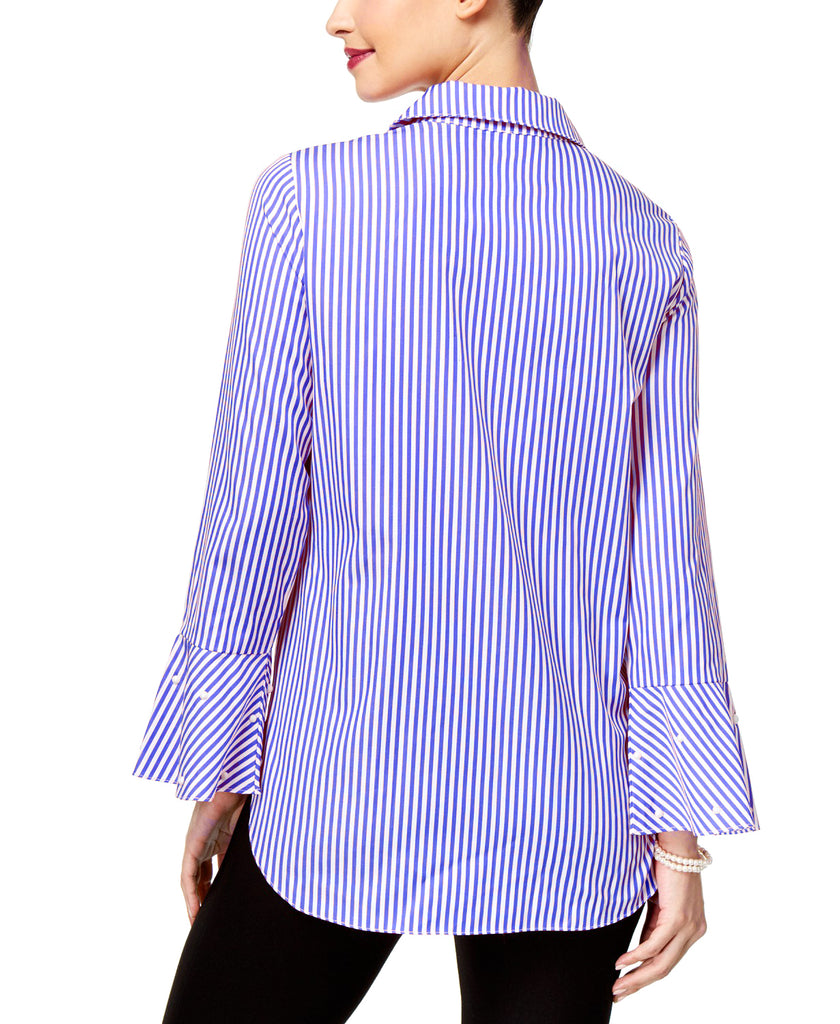 Yieldings Discount Clothing Store's Striped Embellished Blouse by NY Collection in Royal Blue