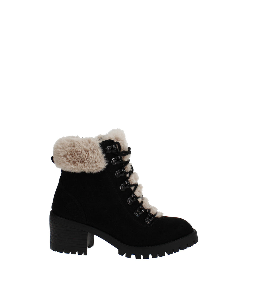 Yieldings Discount Shoes Store's Hidde Faux-Fur Hiker Booties by Madden Girl in Black Fabric