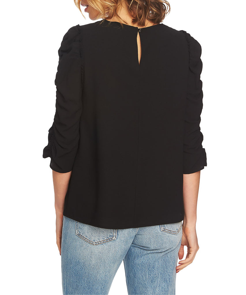 Yieldings Discount Clothing Store's Ruched Sleeve Blouse by 1.State in Rich Black