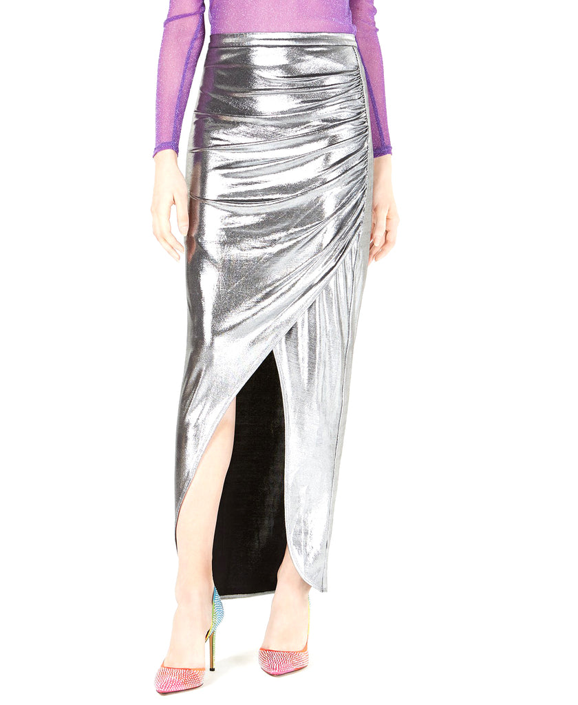 Yieldings Discount Clothing Store's Ruched Metallic Maxi Skirt by Leyden in Silver