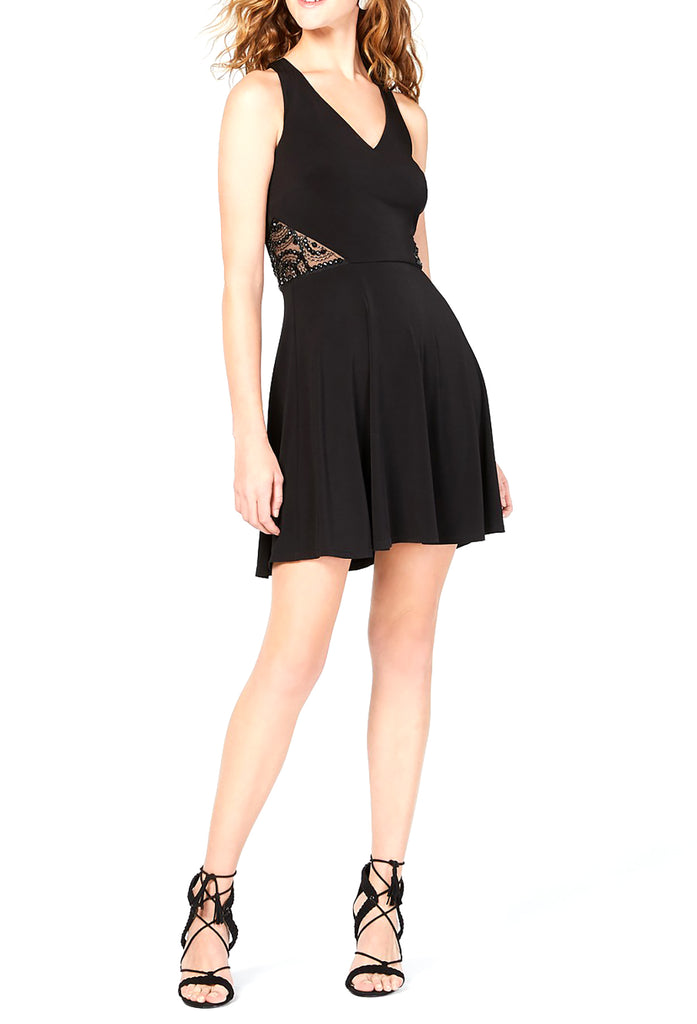 Yieldings Discount Clothing Store's Embellished A-Line Dress by BCX in Black