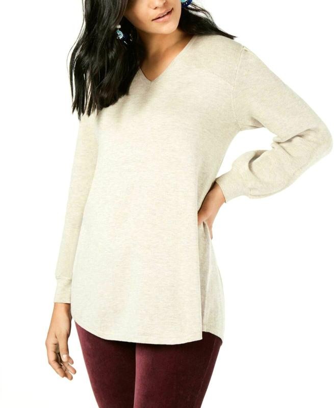 Yieldings Discount Clothing Store's Pleated-Sleeve Tunic Sweater by Style & Co in Hammock Heather