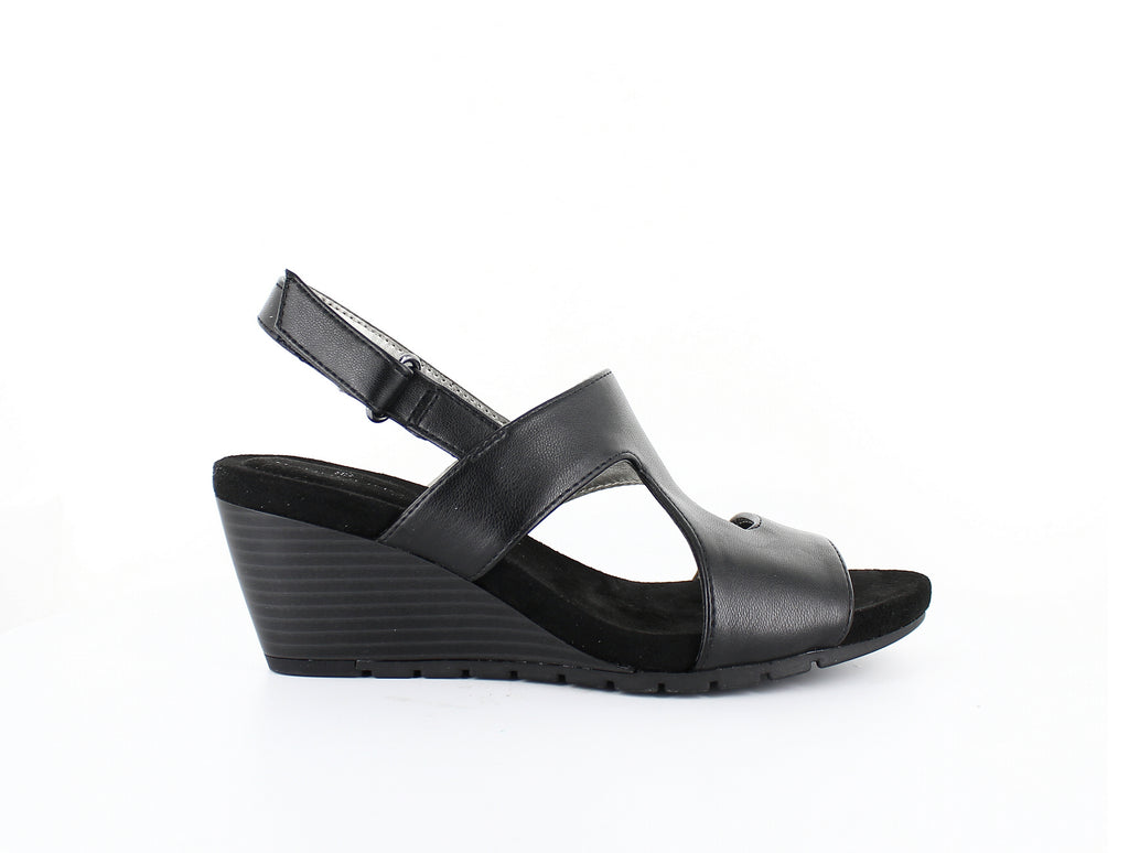 Yieldings Discount Shoes Store's Gannet Wedge Slingback by Bandolino in Black