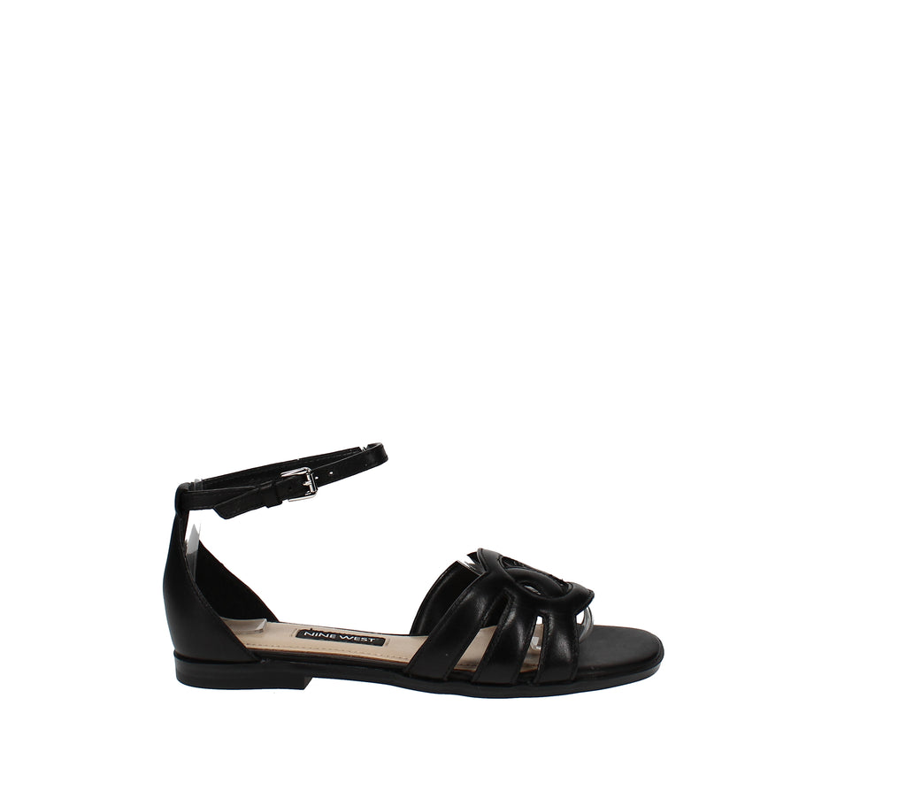 Yieldings Discount Shoes Store's Genna Flat Sandals by Nine West in Black