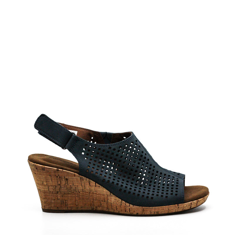 Yieldings Discount Shoes Store's Briah Perforated Slingback Wedges by Rockport in Teal