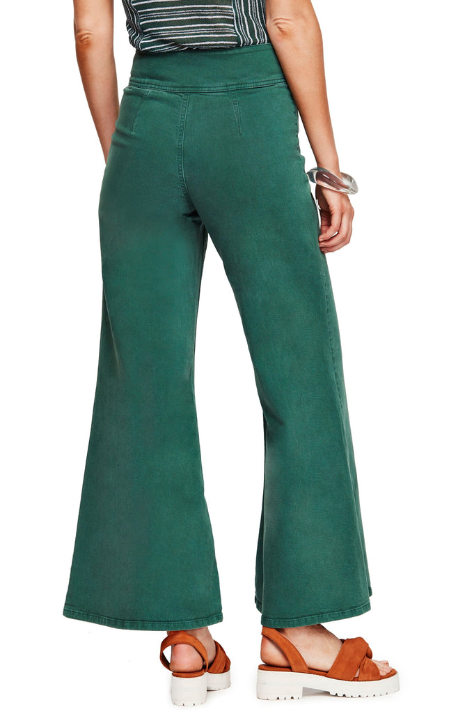 Yieldings Discount Clothing Store's Youthquake Bell Bottom Pants by Free People in Green Combo