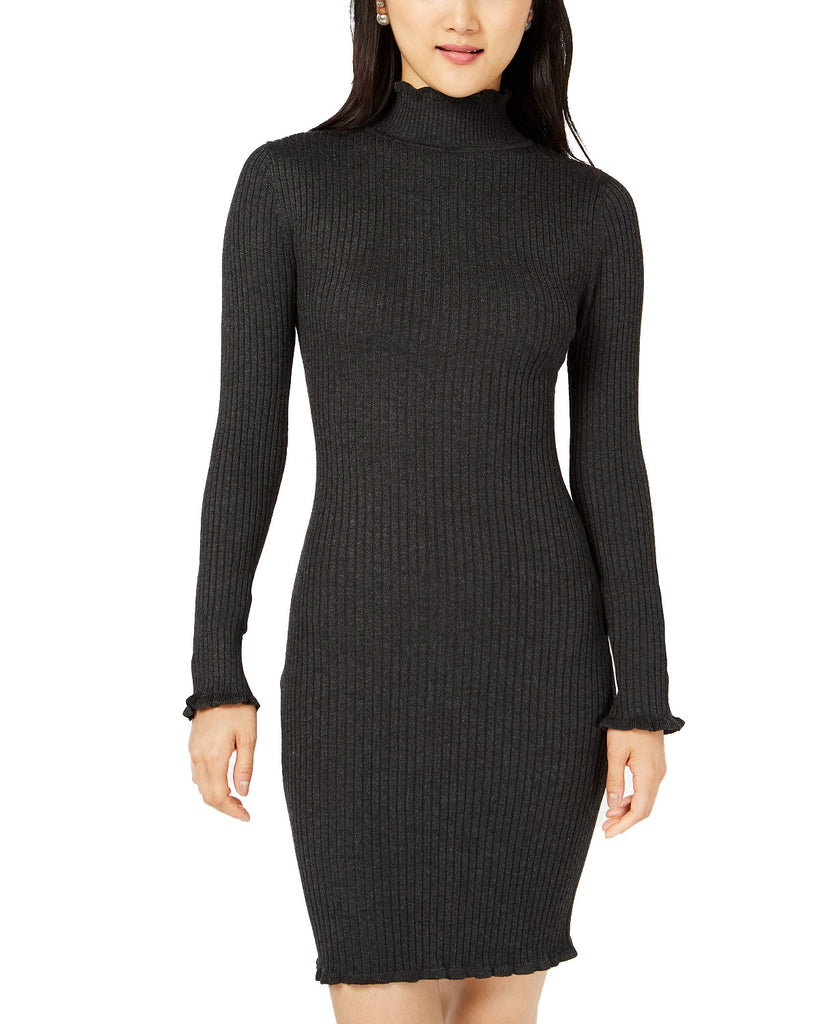 Yieldings Discount Clothing Store's Ribbed Mock-Neck Sweater Dress by Planet Gold in Charcoal Heather Glass