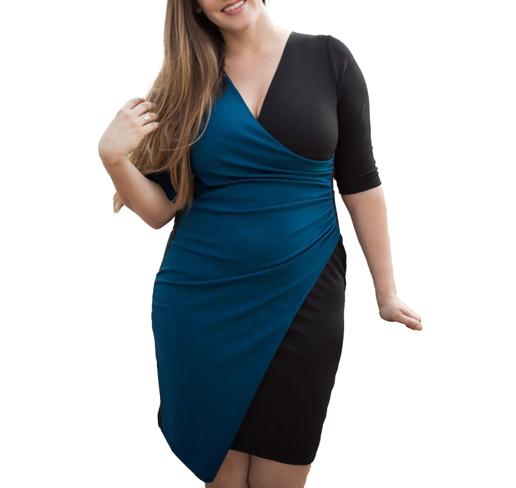 Yieldings Discount Clothing Store's Mixology Cinch Dress by Kiyonna in Teal/Black