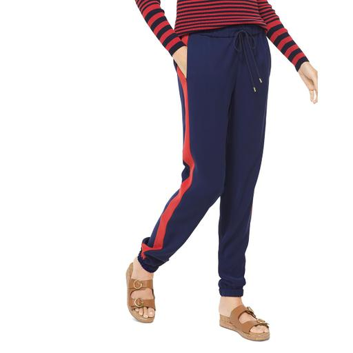 Yieldings Discount Clothing Store's Contrast Stripe Jogger Pants by MICHAEL Michael Kors in True Navy/Terracotta