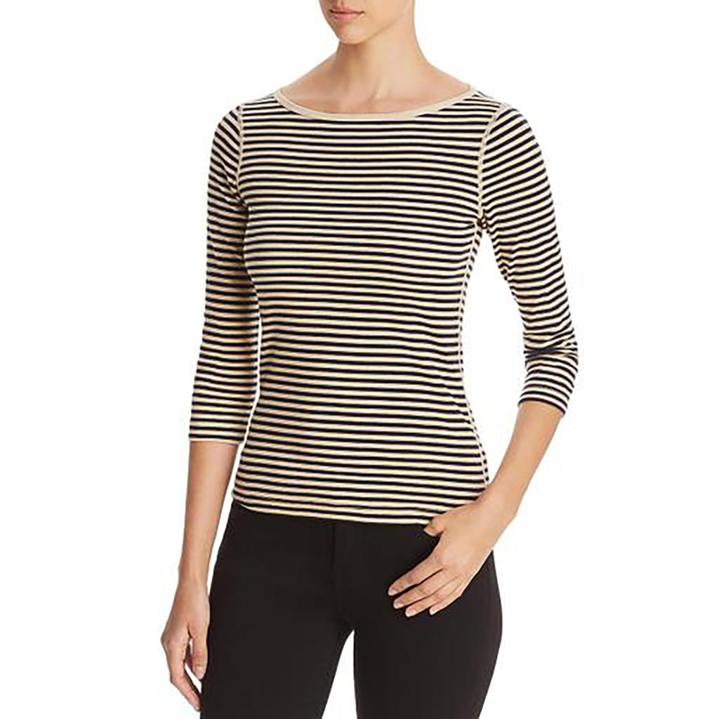 Yieldings Discount Clothing Store's Striped 3/4 Sleeve Shirt by Three Dots in Pink