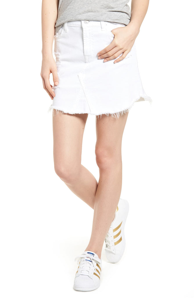 Yieldings Discount Clothing Store's Destroyed Denim Scalloped-Hem Skirt by 7 For All Mankind in White