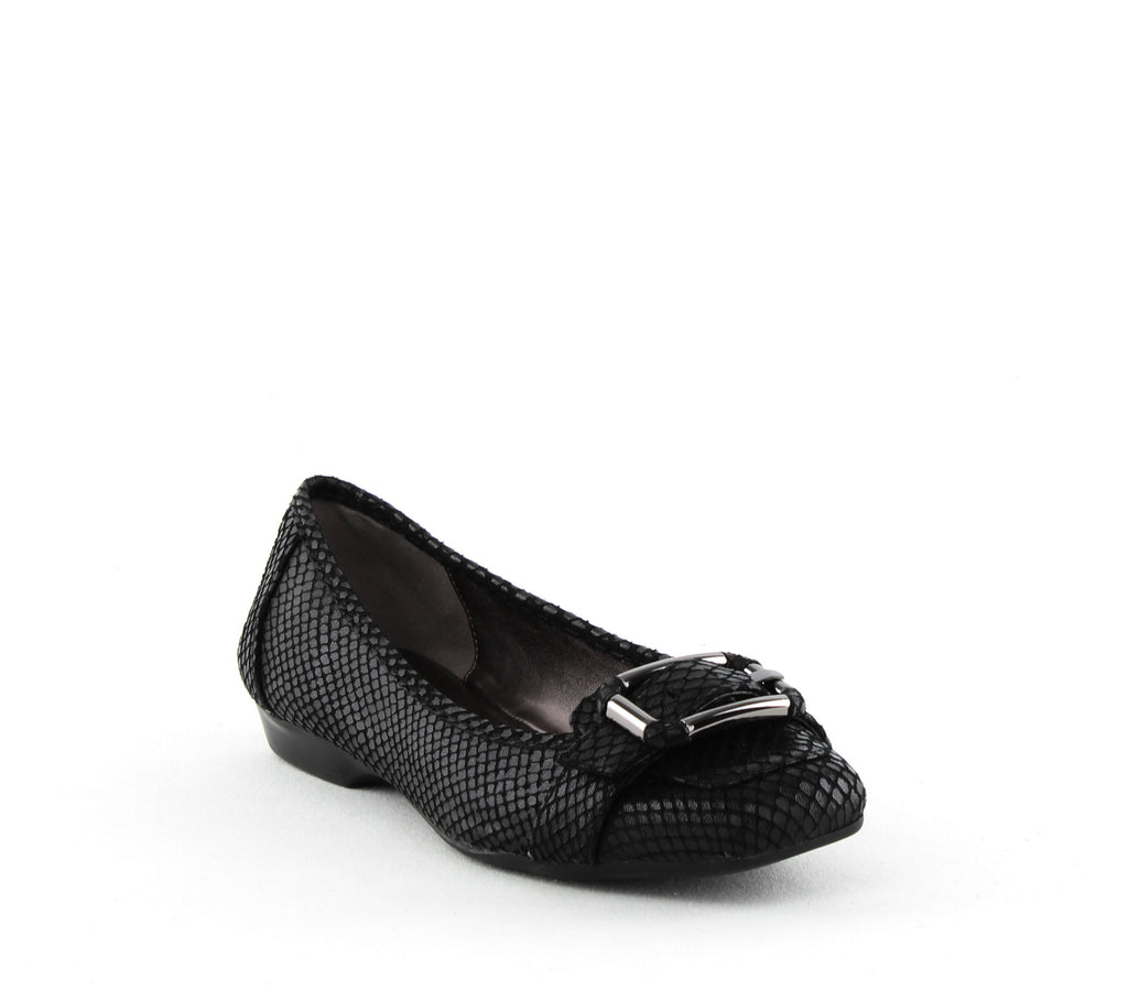 Yieldings Discount Shoes Store's Uma Buckle Flats by Anne Klein in Black