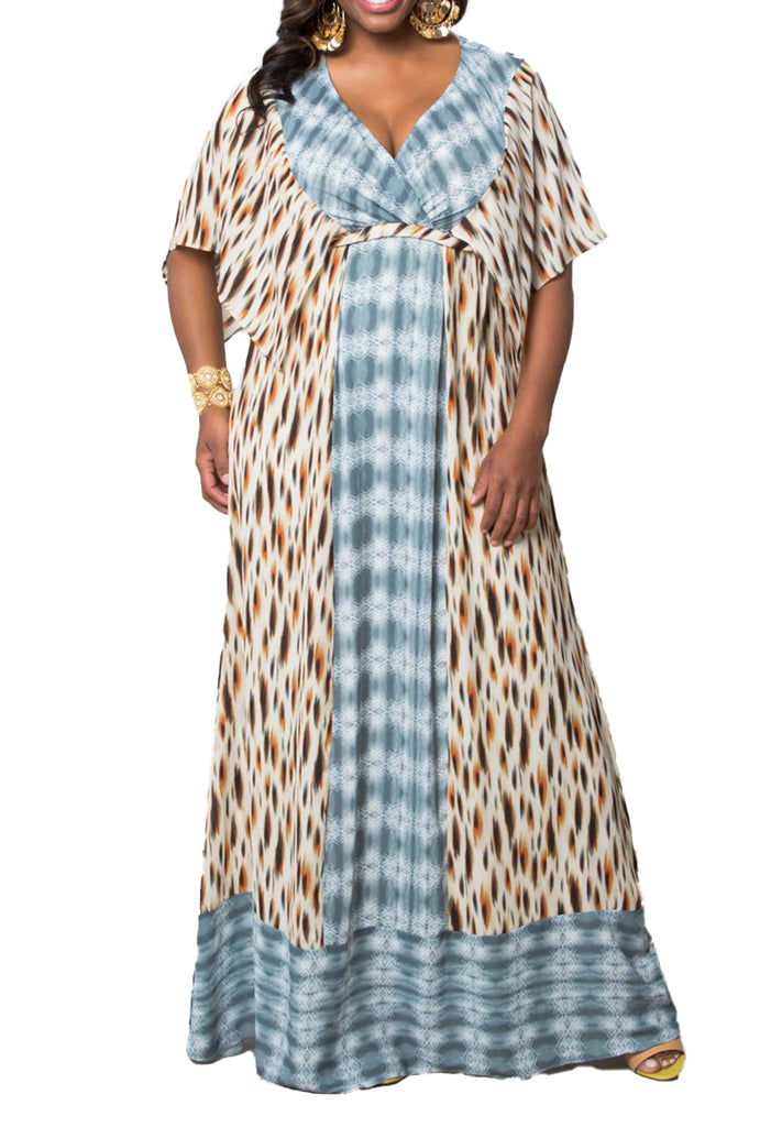 Yieldings Discount Clothing Store's Bohemian Breeze Maxi Dress by Kiyonna in Animal Mix Print