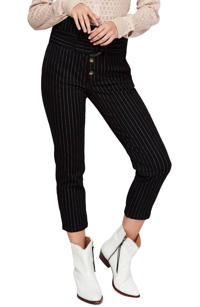 Yieldings Discount Clothing Store's Montella Pinstripe Crop Skinny Pants by Free People in Black Combo