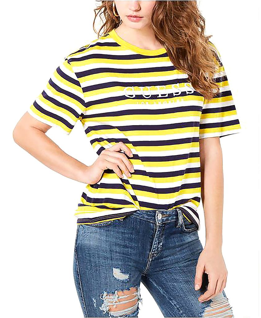Yieldings Discount Clothing Store's Striped Logo T-Shirt by Guess in Harper Stripe Yellow Multi