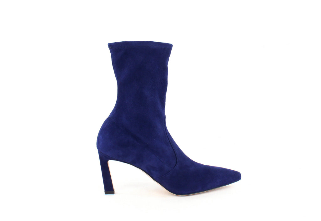 Yieldings Discount Shoes Store's Rapture 75 Bootie by Stuart Weitzman in Maritime Suede