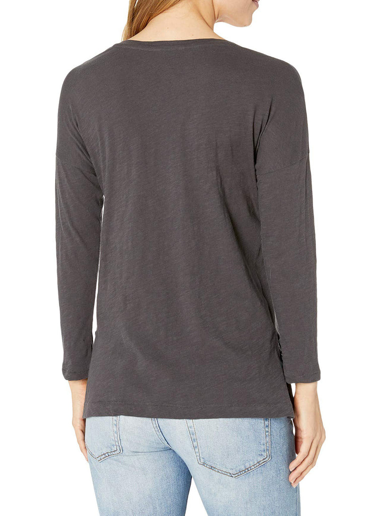 Yieldings Discount Clothing Store's Long Sleeve Cotton Floral Embroidered Tee by Lucky Brand in Phantom