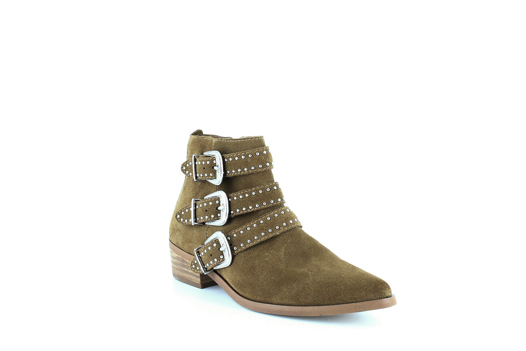 Yieldings Discount Shoes Store's Blane Studded Buckle Booties by Aqua in Cognac