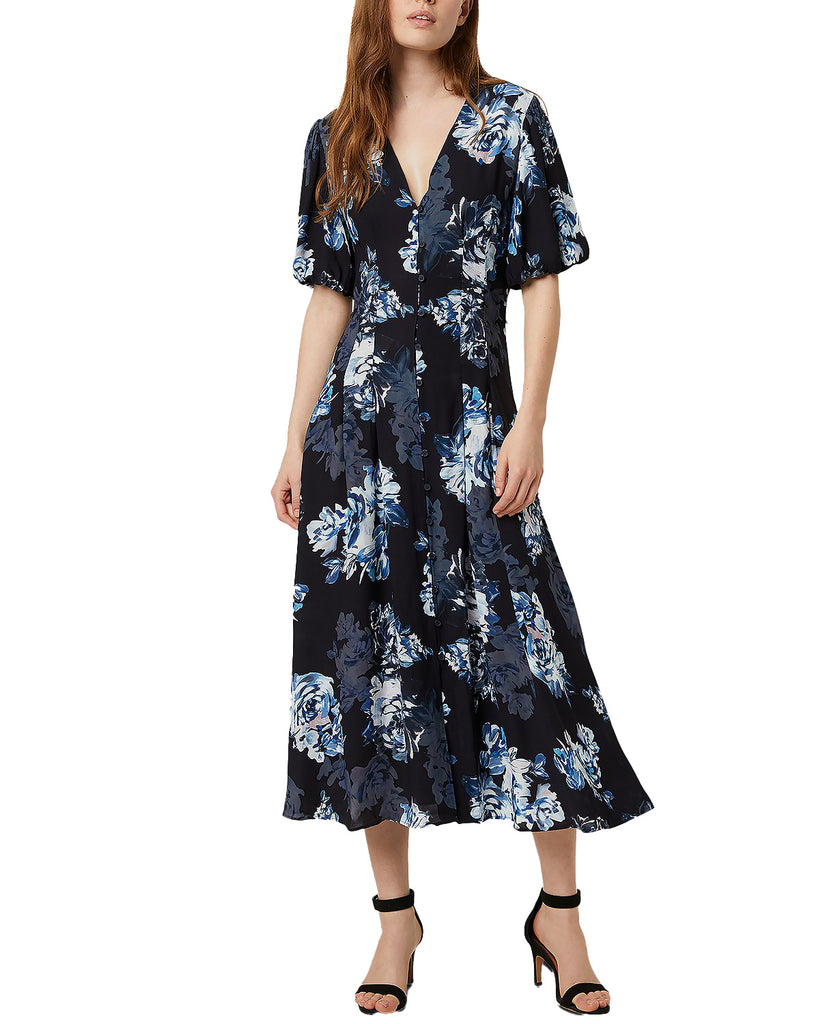 Yieldings Discount Clothing Store's Caterina Puff Sleeve Floral MIDI Dress by French Connection in Utility Blue