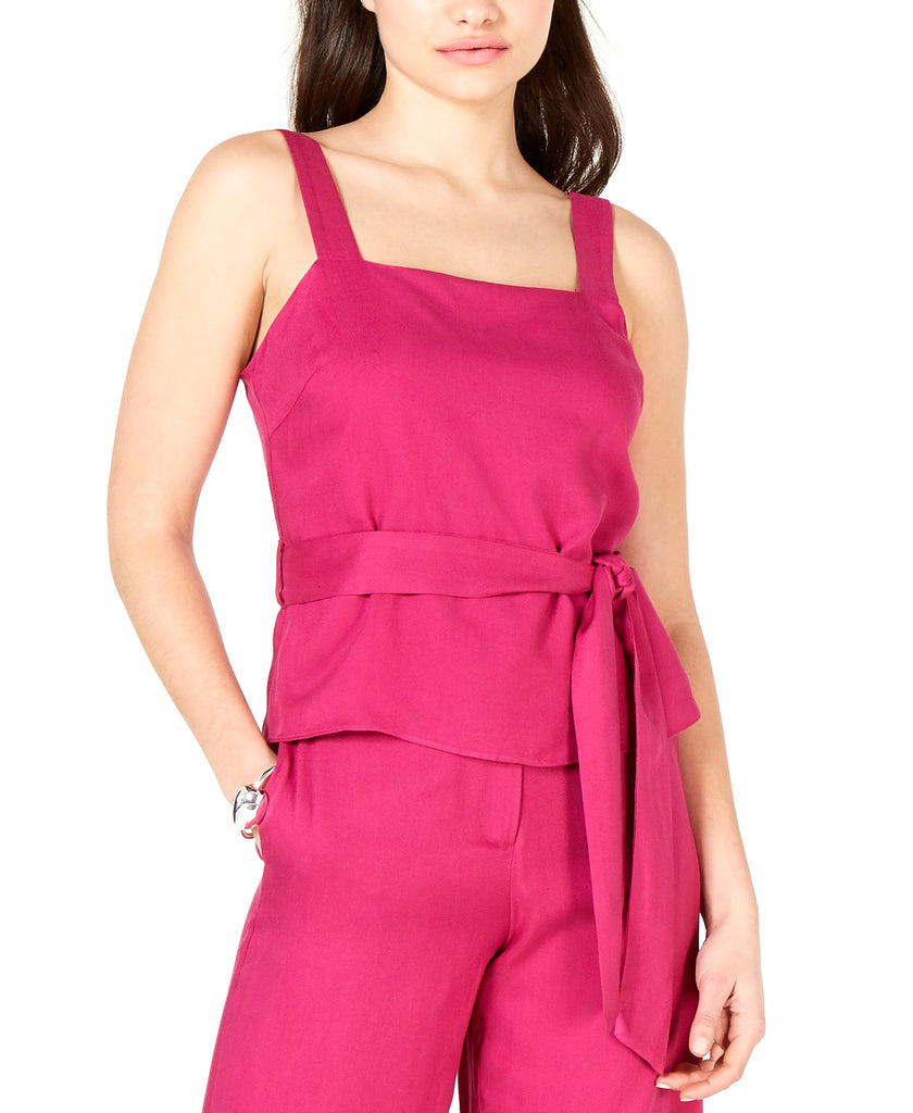 Yieldings Discount Clothing Store's Grace Belted Square-Neck Top by Lucy Paris in Fuschia