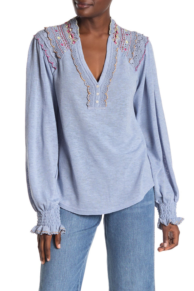 Yieldings Discount Clothing Store's Siesta Fiesta Top Embroidery Crochet by Free People in Dreamy Cloud