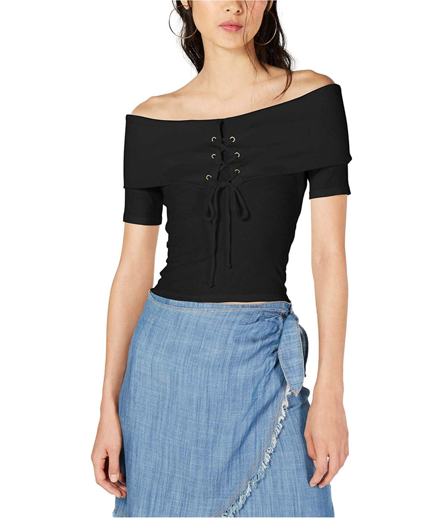 Yieldings Discount Clothing Store's Off The Shoulder Lace Up Top by Sage in Black