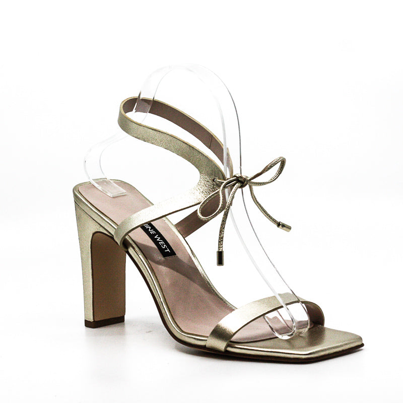 Yieldings Discount Shoes Store's Longitano Heel Sandals by Nine West in Light Gold Metallic