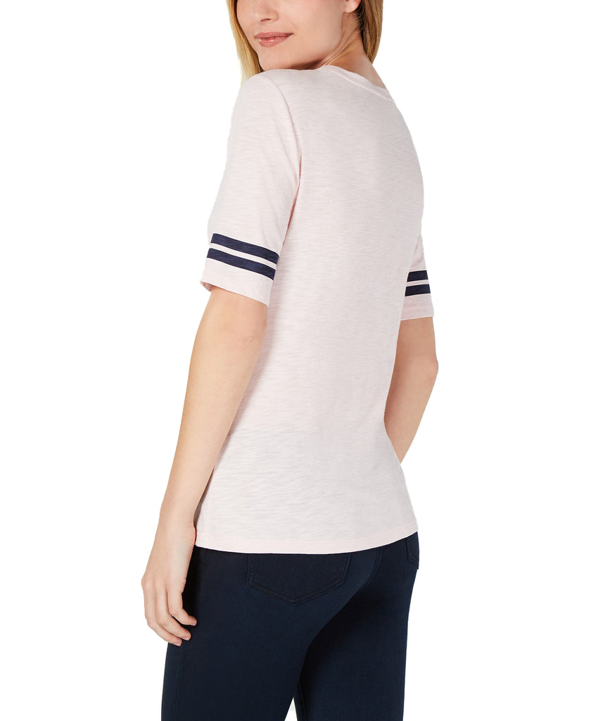 Yieldings Discount Clothing Store's Animalia Knit Elbow Sleeve Varsity T-Shirt by Maison Jules in Potpourri