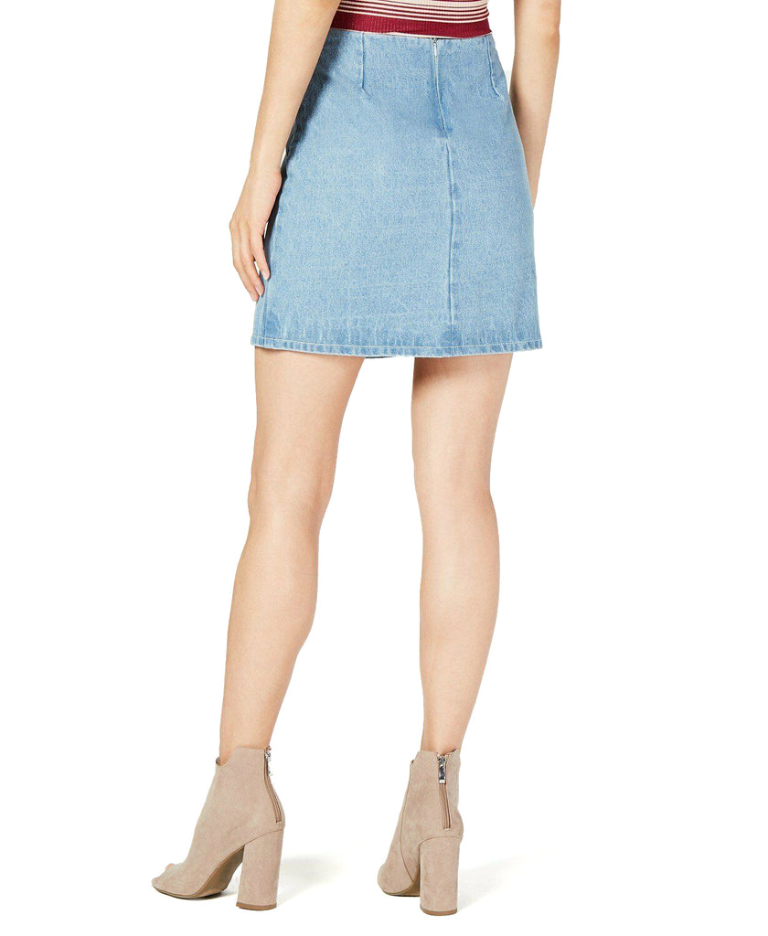 Yieldings Discount Clothing Store's Lace-up Denim Skirt by Sage the Label in Denim