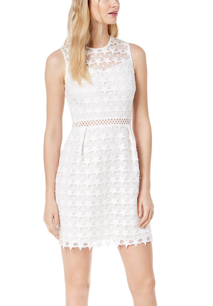 Yieldings Discount Clothing Store's Star Pattern Lace Fit Flare Dress by Maison Jules in Bright White