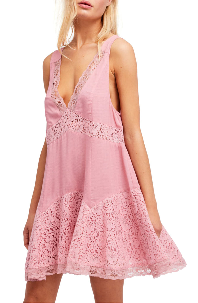 Yieldings Discount Clothing Store's Any Party Trapeze Slip Dress by Free People in Mauve Combo