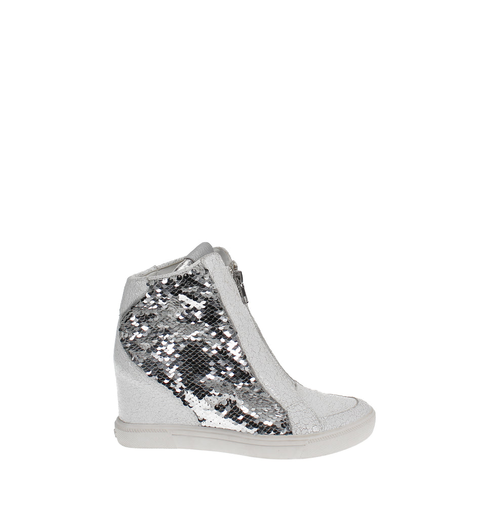Yieldings Discount Shoes Store's Caz Wedge Sneakers by DKNY in Sequin Silver/White