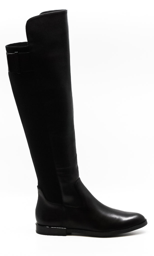 Yieldings Discount Shoes Store's Priya Leather Over-The-Knee Boots by Calvin Klein in Black