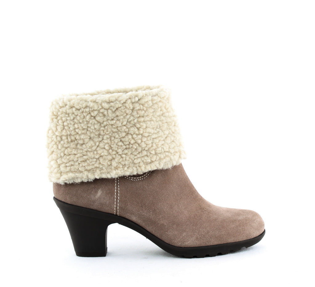Yieldings Discount Shoes Store's Heward Ankle Booties by Anne Klein Sport in Taupe Suede