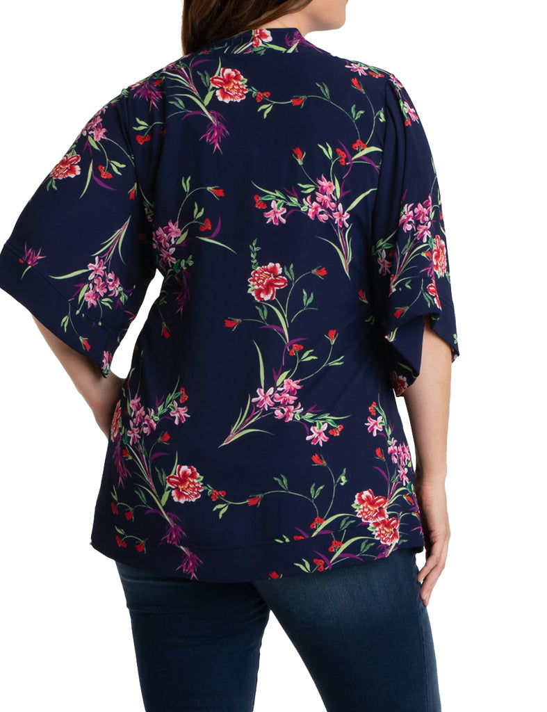 Yieldings Discount Clothing Store's Bali Breeze Bellini by Kiyonna in Navy Crimson Rose
