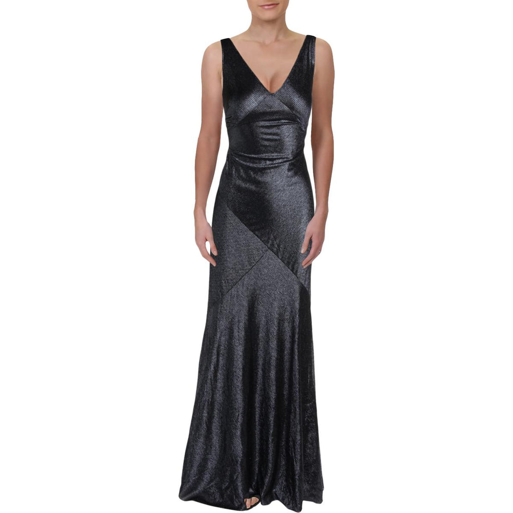 Yieldings Discount Clothing Store's Kendalyn Metallic Flowing Evening Dress by Lauren by Ralph Lauren in Black/Navy