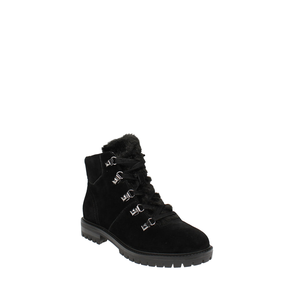 Yieldings Discount Shoes Store's Hobson Hiker Booties by Marc Fisher in Black