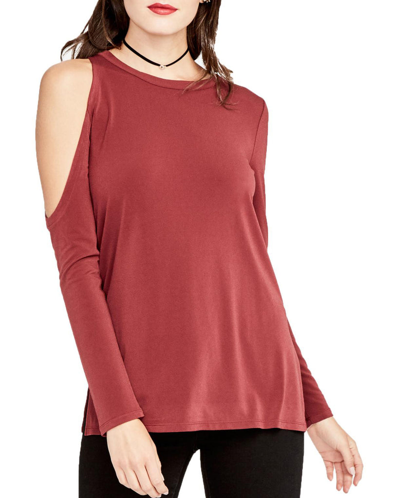 Yieldings Discount Clothing Store's September Cold Shoulder Knit Top by RACHEL Rachel Roy in Port Wine