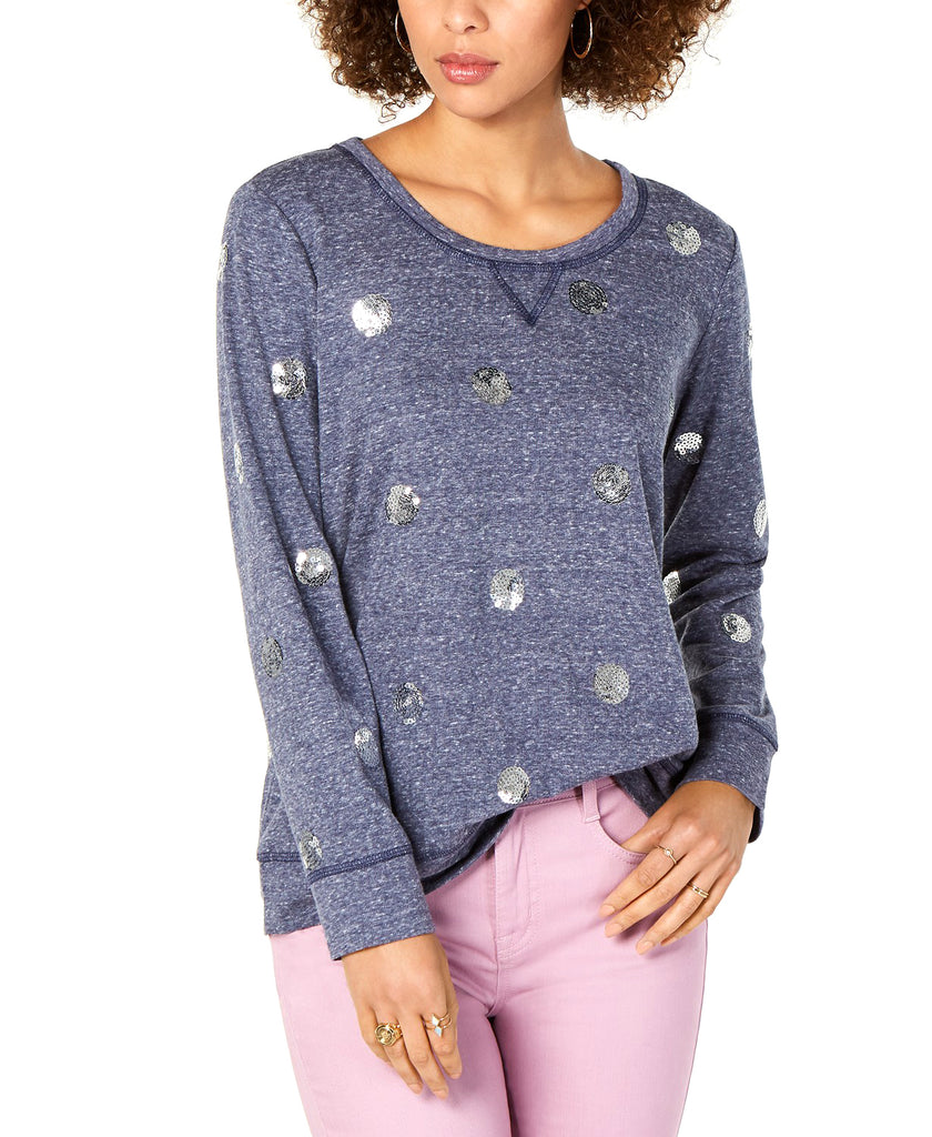 Yieldings Discount Clothing Store's Sequined-Dot Sweatshirt by Style & Co in Classic Navy