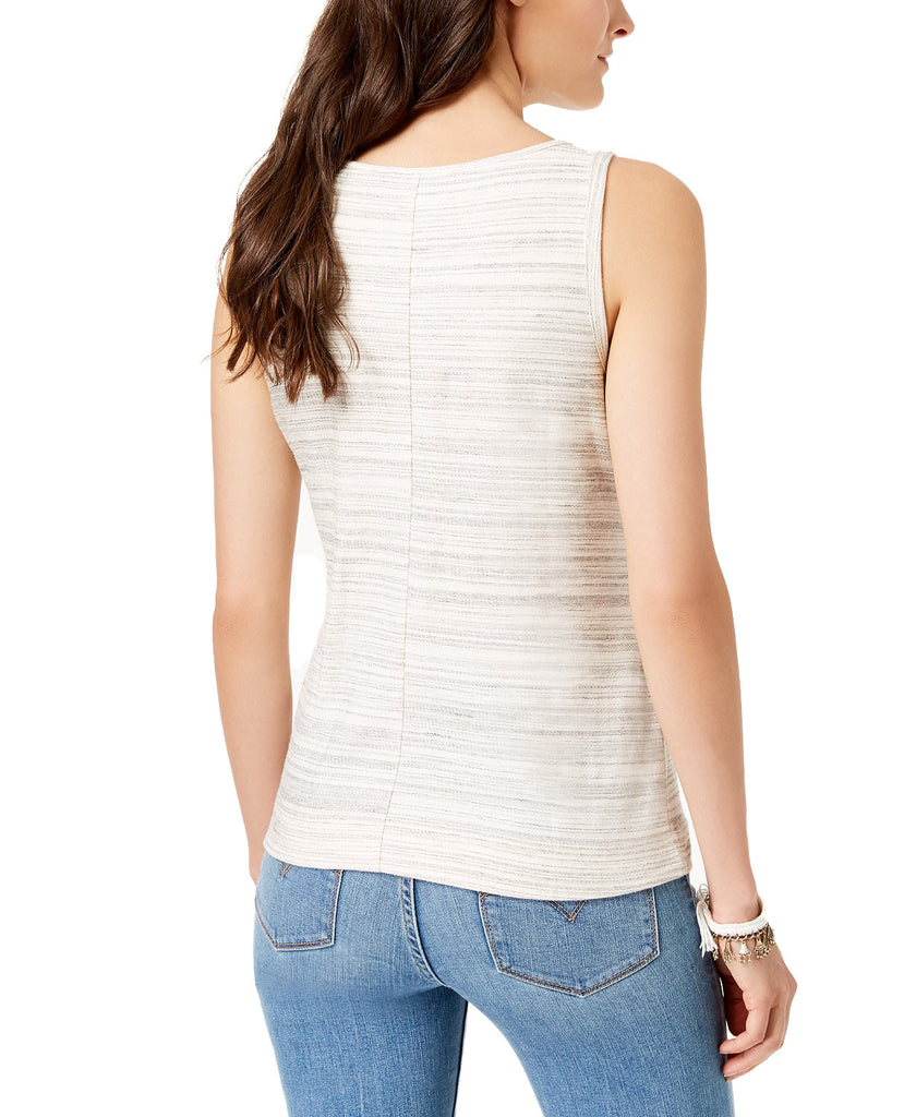 Yieldings Discount Clothing Store's Striped Front-Tie Sleeveless Top by Lucky Brand in Grey
