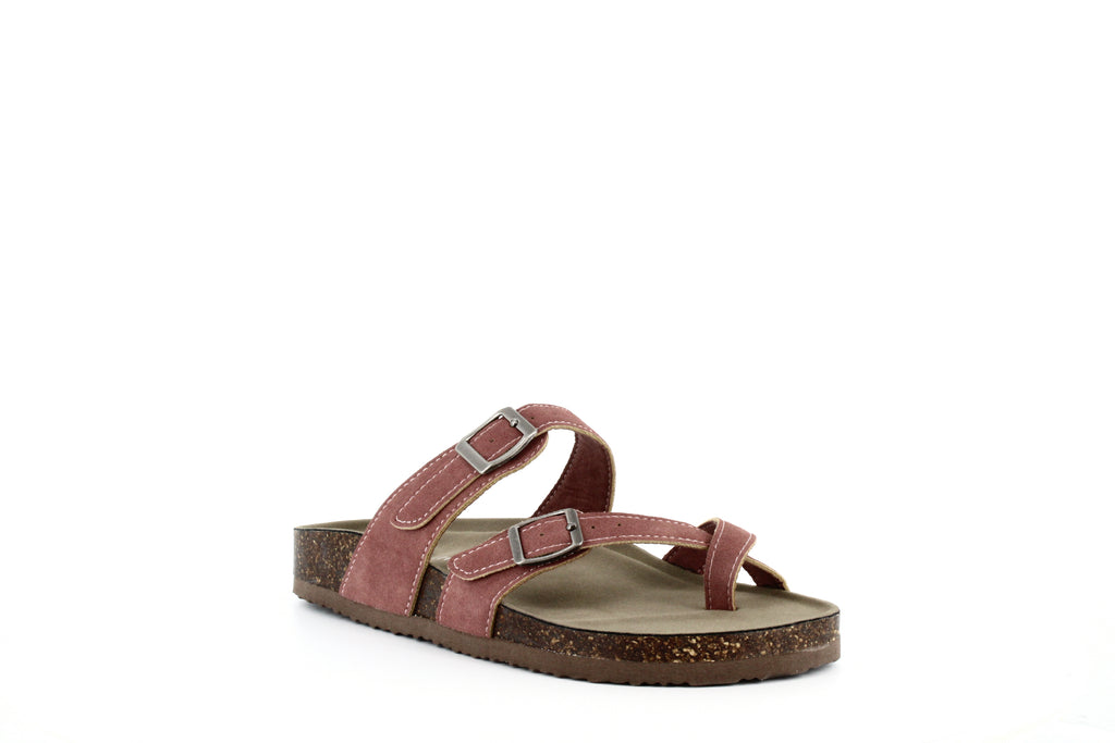 Yieldings Discount Shoes Store's Bryceee Footbed Sandals by Madden Girl in Mauve