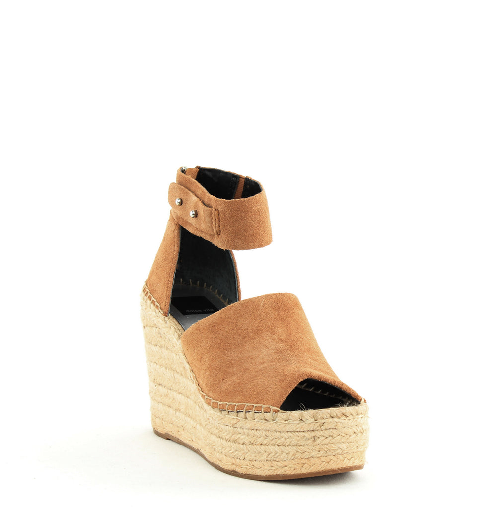 Yieldings Discount Shoes Store's Straw Wedge Sandals by Dolce Vita in Dark Saddle