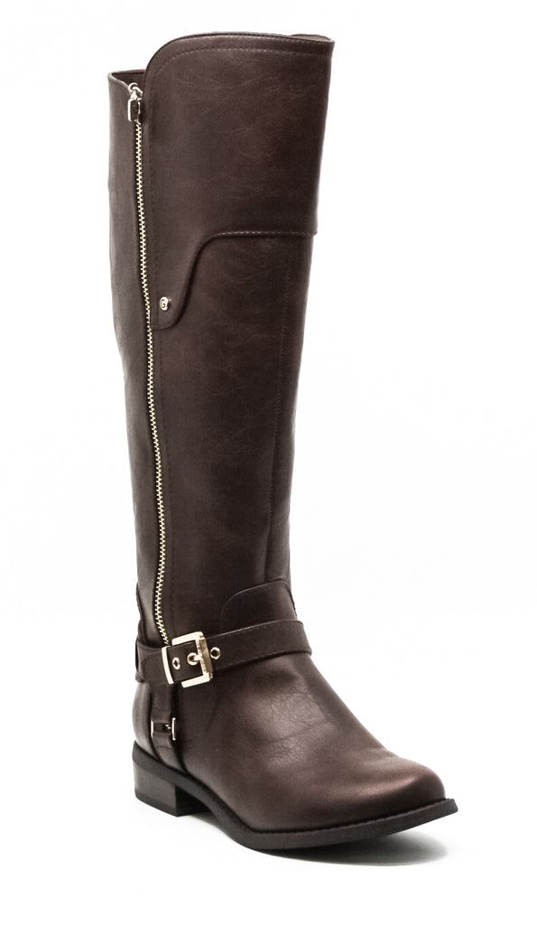 Yieldings Discount Shoes Store's Harson Knee High Boots by G By Guess in Dark Brown